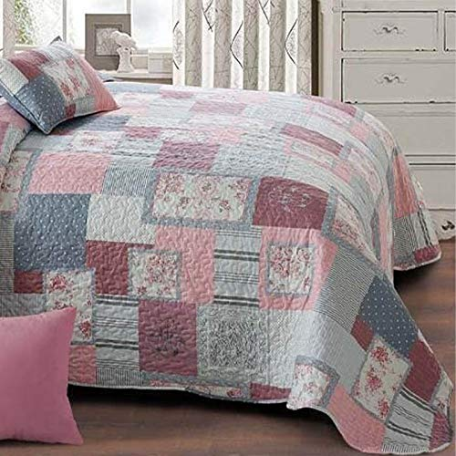 Zweiseitige Tagesdecke Bettüberwurf 3 TLG. 220x240 cm + 2 Kissenbezüge Tavira Burgund Rosa Ecru Lila Mehrfarbig