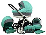 Kinderwagen BABYLUX ALU WAY MINZE, 3 in 1- Set Wanne Buggy Babyschale,Muffe