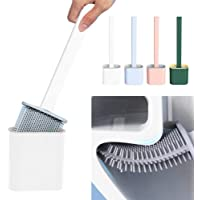 EEEZEEE Silicone Antibacterial Bristles Toilet Brush with Holder Set - Deep-Cleaning No-Slip Long Plastic Handle Quick…