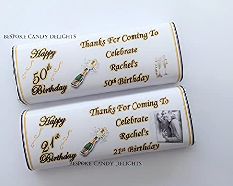 100 Personalised DIY Birthday Chocolate Bar WRAPPERS Favours Black and gold Please read discription before you buy Birthdays 16th 18th 21st 30th 40th 50th
