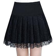 Mujeres Encaje Hem Falda Corta Plisado Mini Elasticidad Cintura Alta Faldas