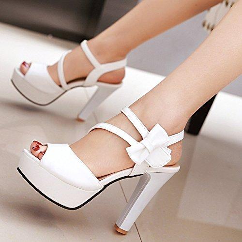 Lgk & fa estate sandali sandali da donna estate spessa tacco farfalla nodo pesce bocca scarpe con tacco White (10cm heel)