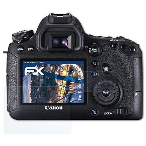Canon EOS 6D Folie - 3er Set atFoliX FX-Shock-Clear stoßabsorbierende ultraklare Panzerfolie Displayschutzfolie (Canon 6d Screen Protector)