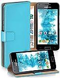 moex Samsung Galaxy S2 | Hülle Türkis mit Karten-Fach 360° Book Klapp-Hülle Handytasche Kunst-Leder Handyhülle für Samsung Ga