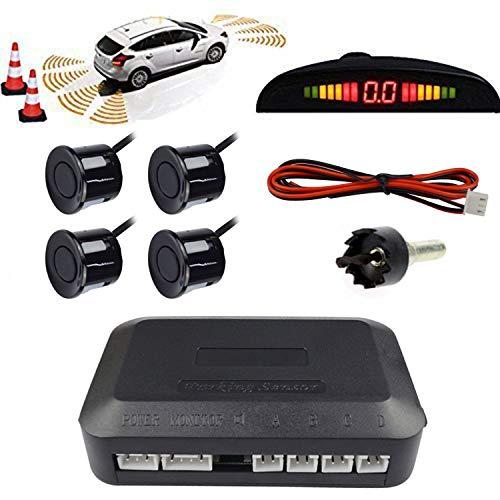 KKmoon Auto Einparkhilfe mit Display 12V Summer Rückfahrwarner Parkhilfe Rückfahrhilfe mit 4 Sensoren Radar Kit für Auto Van SUV PKW Transporter