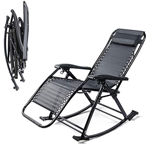 ZDYLM-Y Relax-liegestuhl Klappbar Außen justierbarer faltender Sonnenliege Rocker Schwerelosigkeits Sitz mit Kopfstütze für Garten, Terrasse, Deck