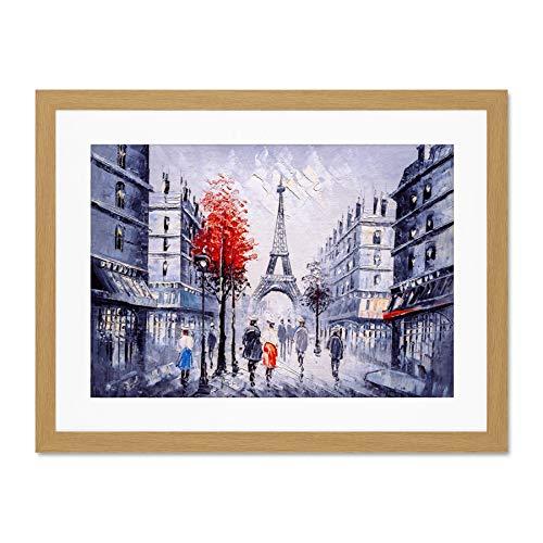 Eiffel Tower In Paris Red Tree Large Framed Art Print Wall Poster 18x24 inch Eiffelturm Baum Wand