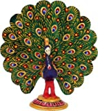 Die Hue Cottage Dancing Peacock Visitenkarte indischen handgefertigt weiß Metall Deko Skulptur Vogel Figur Geschenke Artikel