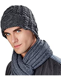a14eb53a84b1cd Men's Luxurious Alpaca Wool Blend Cable Knit Hat Warm Winter Beanie Ski Cap  Sports Skull Hats