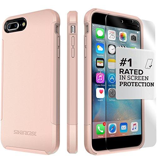 Funda iPhone 7 Plus, (Rosa Dorado) Inspire Kit Funda Protectora SaharaCase con [Protector de Pantalla de Vidrio Templado ZeroDamage] Fuerte Protección Antideslizante [Cubierta Anti-golpes] Fino y Elegante