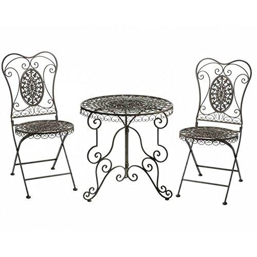 L'Héritier Du Temps Salon de Jardin Salon de Thé 2 Places Personnes Table Bistrot et 2 Chaises Pliantes en Fer & Fonte Marron
