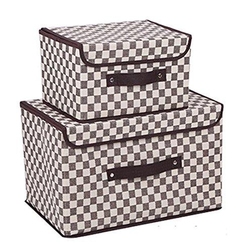 Faltbare Behälter mit Deckel, Aufbewahrungsbox Storage Cube Korb Set von 2, Polka Dot Speicher canbinet Grau kariert -