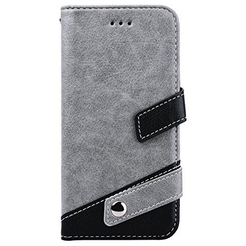 WE LOVE CASE iPhone X / 10 Cover Modello Litchi Splicing Colore Retro Style iPhone X / 10 Custodia Marrone Copertura Pelle Flip PU Leather Design Internamente Silicone TPU Cassa Caso Bumper Protettiva gray