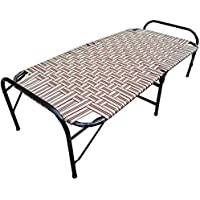 SSI Sharma Steel Industries Folding Bed with Nylon Niwar (Brown)