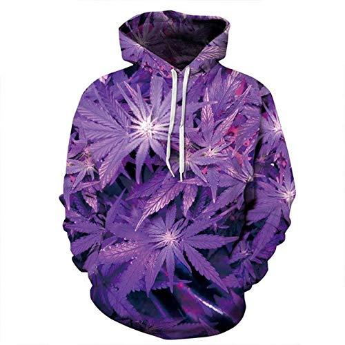 ZQWY Nice Purple Leaves Print Sudaderas Hombre/Mujer con Gorra Chándal Precioso Sudaderas...