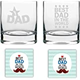 YaYa Cafe Birthday Gifts For Father, No 1 Best Dad In The World Whisky Glass For Dad Set Of 2-325 Ml