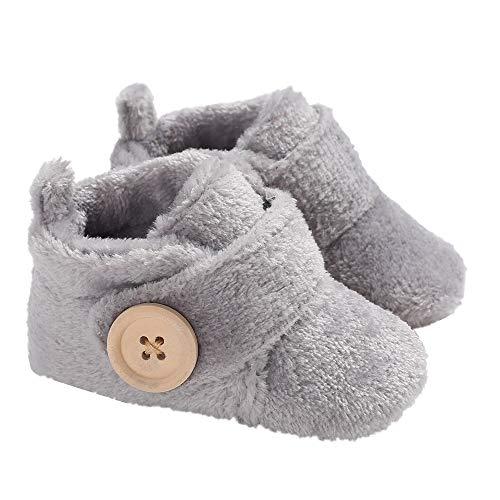 Morbuy Baby Künstliche Flusen Schuhe Babyschuhe Neugeborene Kleinkind Weiche Alleinige Anti-Rutsch Krabbelschuhe Wanderer Schuhe (12cm / 6-12 Monate, Grau)