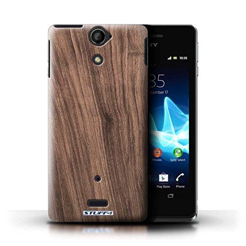 KOBALT® Hülle Case für Sony Xperia V/LT25i | Treibholz Entwurf | Holz/Holzmaserung Muster Kollektion Nussbaum
