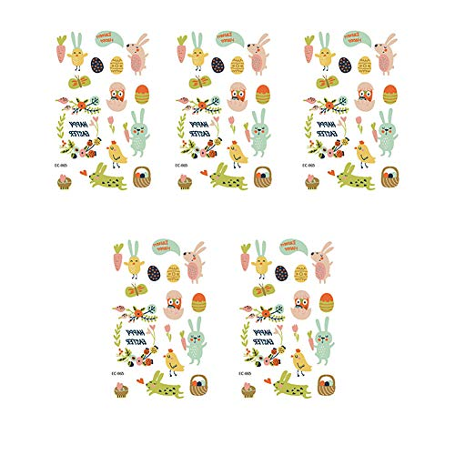 Phononey 5X Transfer Sticker Aufkleber Ostern Tattoo Sticker Etiketten Ostereier Hase für Kinder zum Basteln Gestalten Geschenk Verpackung Kinder Osterhase 12cm*7.5cm