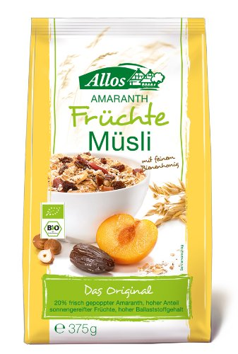 Allos Amaranth-Früchte-Müsli, 4er Pack (4 x 375 g)