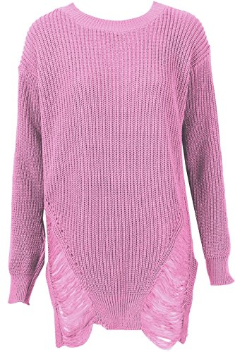 Ladies Distressed Long Knitted Jumper EUR Size 36-42 Se leva