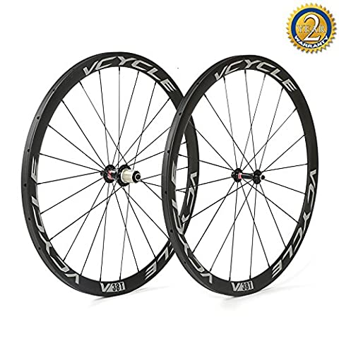 VCYCLE 700C Racing Road Bike Carbon Wheelset Tubular 38mm Shimano 8/9/10/11 Speed or Campagnolo 10/11 Speed available Only 1170g - 130 Mm Mozzo Posteriore