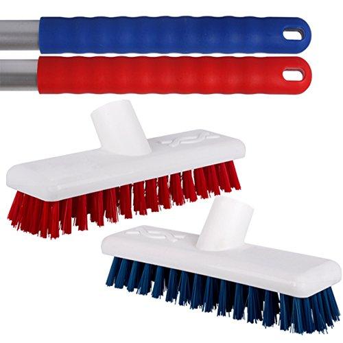 Kommerzielle Wire (2Stück Rot und Blau steif ohne Deck Fegen Pinsel mit einem starken Metall Griffe für Sonnendeck, Terrassen, Fliesen & Stall–mit TCH antibakteriellem Stift.)