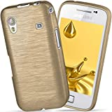 moex Samsung Galaxy Ace | Hülle Silikon Gold Brushed Back-Cover TPU Schutzhülle Ultra-Slim Handyhülle für Samsung Galaxy Ace Case Dünn Silikonhülle Rückseite Tasche