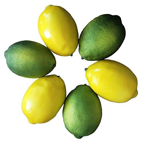 Zitrone Simulation Lebensechte Zitronen Gelbe Zitrone & Grün Kalk Gefälschte Obst für Home Kitchen Dekoration 6 stücke ()
