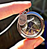 Cadeau de Noël Médaillon Flottant Souhait de Pissenlit Pendentif Collier Chaîne en argent sterling 925 - BOITE CADEAU charm flottant Bijouterie cadeau unique pour les filles