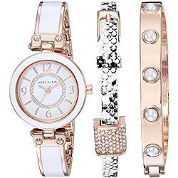 Anne Klein Women's Quartz Metal and Alloy Dress Watch, Color:White (Model: AK/2520RGST)