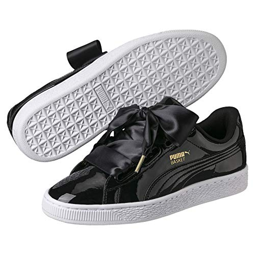 Puma Damen Basket Heart Patent WN's Sneakers, Schwarz Black 1, 35.5 EU 1 Black Patent Schuhe