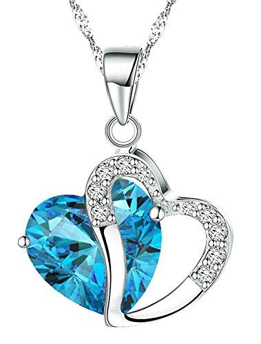 Boolavard® TM Fashion Osterreic Tschechische Kristall Herz Form Anhänger Halskette + Geschenk-Box - 18' Orange-kristall