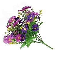 Amesii 1 Bouquet 28 Heads Artificial Fake Cute Daisy Flower Home Wedding Garden Decor - Purple