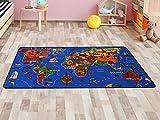 Kinderteppich Lernteppich Spielteppich WELTKARTE - 95x200cm, Spielmatte, Anti-Schmutz-Schicht, Kinderzimmerteppich mit Karte