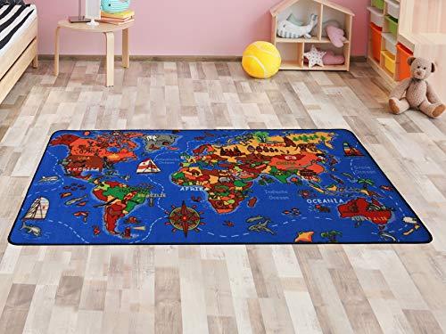 Kinderteppich Lernteppich Spielteppich WELTKARTE - 130x200cm, Spielmatte, Anti-Schmutz-Schicht, Kinderzimmerteppich mit Karte - Kanada Entdecken