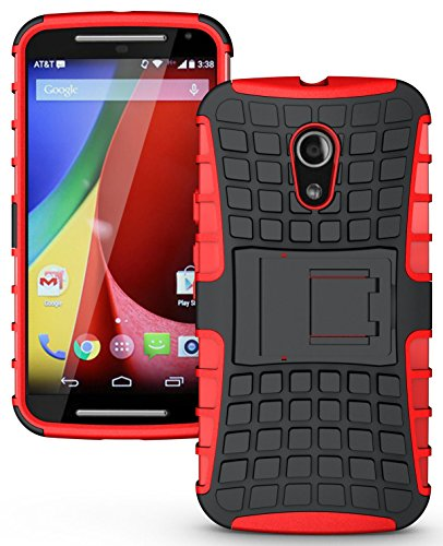 Heartly Flip Kick Stand Spider Hard Dual Armor Hybrid Bumper Back Case Cover For Motorola Moto G2 G 2nd Generation - Hot Red
