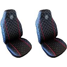 Fundas Universal asiento fundas para Volkswagen Golf Passat Sharan Bora Polo Caddy Negro Rojo 2Â 34â 5Â con ribete