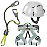 Alpidex Kletterhelm ARGALI bright white + Alpidex Klettergurt TAIPAN green pepper + Edelrid Klettersteigset Cable Lite 2.3