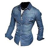 Meedot Freizeit Hemden Herren Slim Fit Hemd - Herren Jeanshemd Waschung Blau Oberteil Jeans Tops Pullover Shirt Langarmshirt Dunkelblau XL