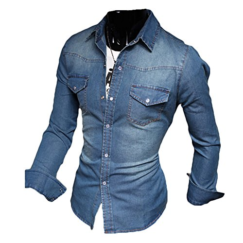Meedot Freizeit Hemden Herren Slim Fit Hemd - Herren Jeanshemd Waschung Blau Oberteil Jeans Tops Pullover Shirt Langarmshirt Dunkelblau M
