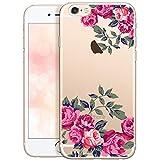 OOH!COLOR Bumper Compatible pour iPhone 6s, iPhone 6 Coque Silicone Fleur Transparente Souple Etui Soft Case Ultra Slim Fine Cover avec Motif Roses Délicates (JETABLE)