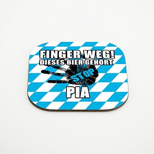 Untersetzer für Gläser mit Namen Pia und schönem Motiv - Finger weg! Dieses Bier gehört Pia
