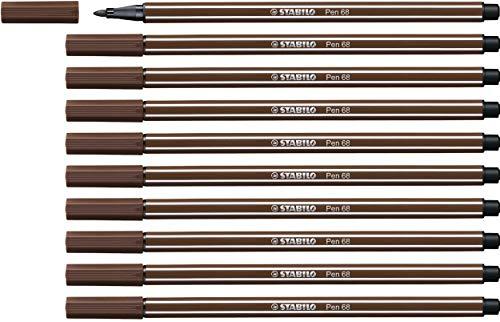 Premium-Filzstift - STABILO Pen 68 - 10er Pack - braun (Braun Pen)