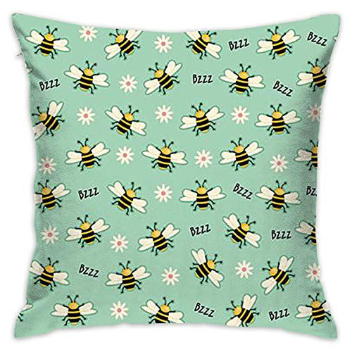 Honey Bees Throw Pillow Cases Square Cushion Cover for Sofa Decorative Office Chairs Home Decorative 18x18 Pillowcase