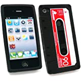 Emartbuy Apple Iphone 4 4G 4Gs 4S Hd Casette Tape Silicon Case / Cover / Skin Schwarz