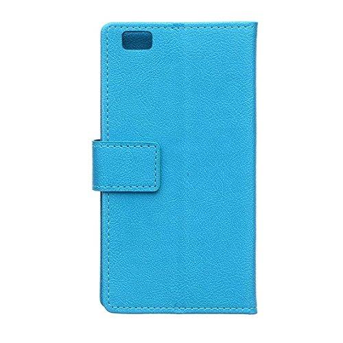 Solid Color Kas Textur Muster Leder Schutzhülle Case Horizontal Flip Stand Case mit Kartennuten für Huawei P8 LITE ( Color : Blue , Size : Huawei P8 LITE ) Blue