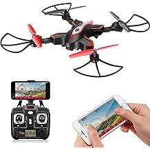Drone plegable con cámara Syma X56W FPV Wifi Cuadricoptero UAV RTF RC Cuadricoptero con Alta Altitud, Modo sin cabeza, Giroscopio de 360 grados (Negro)
