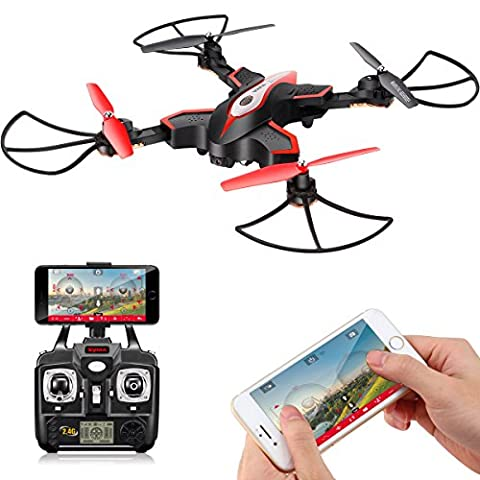 Foldable Drone with HD Camera FPV DoDoeleph Syma X56W Control UAV RTF RC Quadcopter With Altitude Hold Headless Mode Functions 3D Flips Remote Control Helicopter Black
