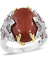 TJC Women 925 Sterling Silver Opal and Chrome Diopside Solitaire With Accents Ring Size T